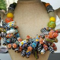 ghana_trade_beads_bunched_statement_necklace_1