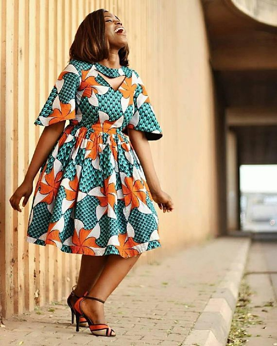 African Print Fashion: African Print Flare Midi Dress- Cut Out Dress