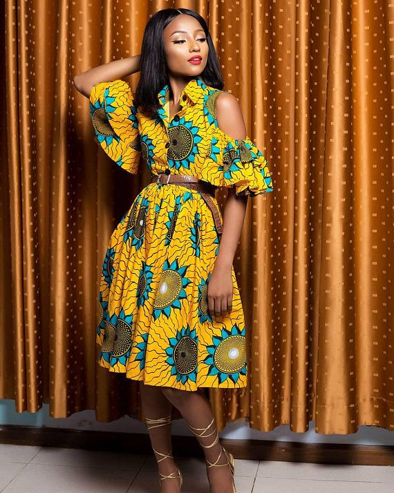 5dc6b0c0d02a40 African Print Midi Dress- Cold Shoulder Dress - Ankara - Ankara Print - African  Dress - Handmade - Africa Clothing - African Fashion: 0 US Women's