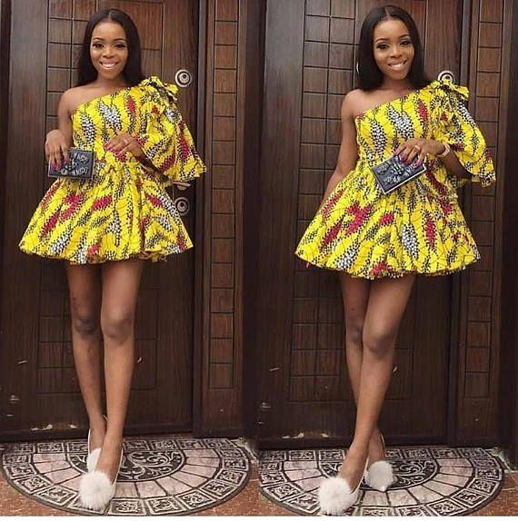 b9c4c6d2780 Elegant African Print Short Dress- One Shoulder Dress - Ankara Print - African  Dress - Handmade - Africa Clothing - African Fashion  0 US Women s