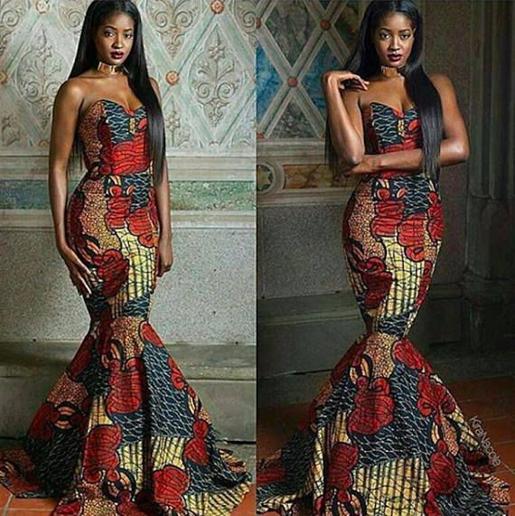 4d89bcb6b510 African Print Strapless Prom Dress - Mermaid Train -Prom Dress Ankara - African  Dress - Handmade - Africa Clothing - African Fashion: 0 US Women's