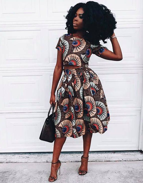 1000 Images About African Print 2 Piece Outfit On: African Print Crop Top And Flare Skirt