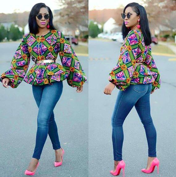 African Print Peplum Top Puff Sleeve Ankara African