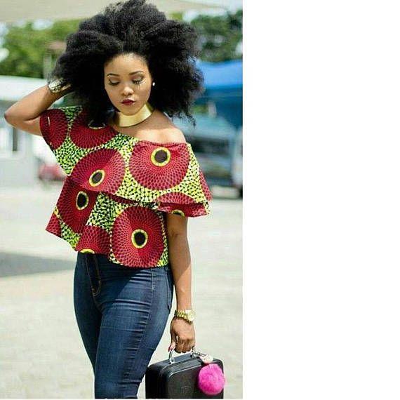0a926706461ff9 Ankara Top - African Print Off Shoulder Top - Ankara Print - African Dress  - Handmade - African Clothing - African Fashion: 0 US Women's
