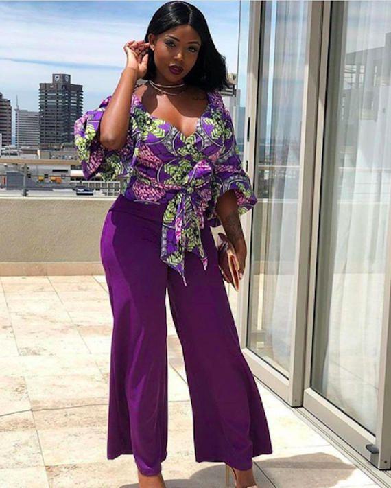 0b51267d88a149 African Print Wrap Top - With Belt - Ankara - Ankara Top - African Dress -  Handmade - Africa Clothing - African Fashion: 0 US Women's