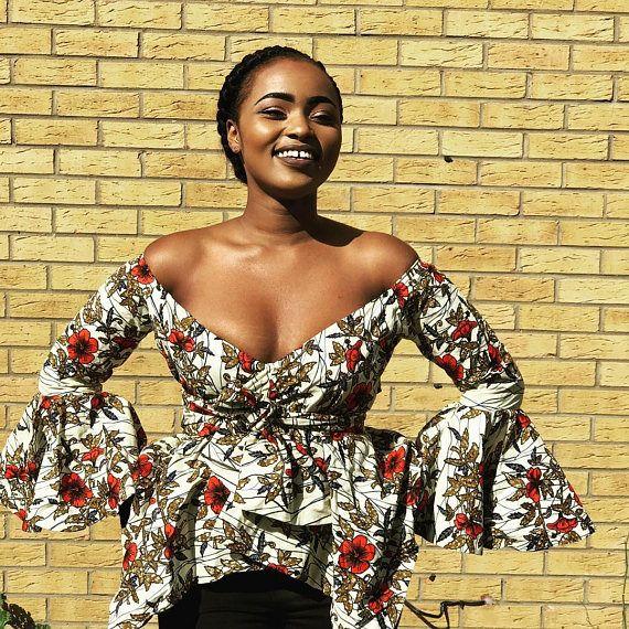 cbe5ecc35c181 African Print Top - Off Shoulder Top -Plunging Neck - Bell Sleeves - Ankara  - African Dress - Handmade - Africa Clothing - African Fashion  0 US Women s