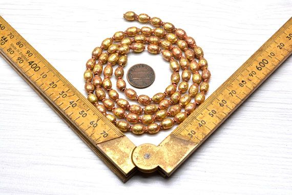 9x12mm Authentic Handmade African Tribal Jewelry Mala Making Craft Supplies Golden Beads Ethiopian Brass and Copper Hollow Bead Mala