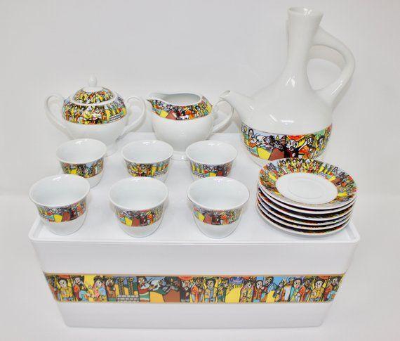 Ethiopian/Eritrean Coffee Cups, Saba Edition. A Set Of 16